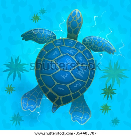 Cartoon vector blue sea turtle under stock vector for Turtle fish games