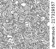 Cartoon vector doodles hand drawn idea seamless pattern - stock