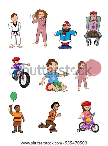 cartoon vector illustration of a boys girls collection