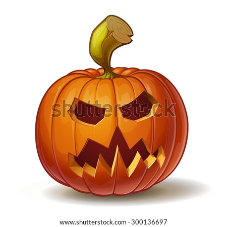 Cartoon vector illustration of a Jack-O-Lantern pumpkin curved in a scary expression, isolated on white. Neatly organized and easy to edit EPS-10