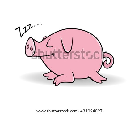 cartoon vector illustration of a pig sleeping