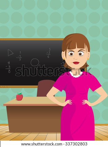 cartoon vector illustration of a teacher upset classroom