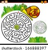Cartoon Vector Illustration of Education Maze or Labyrinth Game for Preschool Children with Funny Snail and Lettuce or Cabbage - stock vector