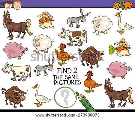 Cartoon Vector Illustration of Finding the Same Picture Educational Game for Preschool Children