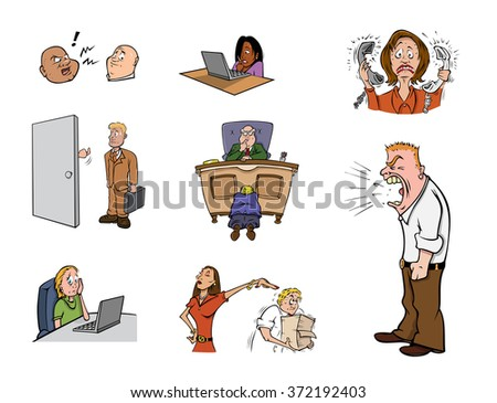 cartoon vector illustration of workplace stress