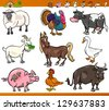 Cartoon Vector Illustration Set of Happy Farm and Livestock Animals isolated on White - stock vector
