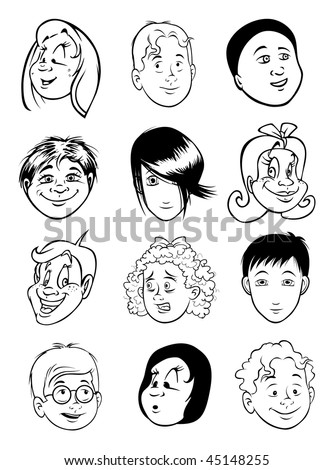 cartoon vector outline illustration girl boy faces