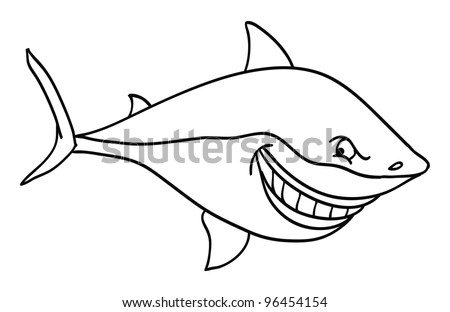 Cartoon Vector Outline Illustration Of A Great White Shark