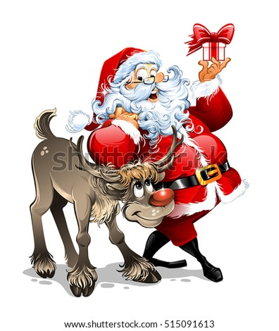 Cartoon vector Santa Claus character holding a present near his reindeer. Vintage Christmas greeting card design. Retro illustration.