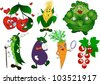 Cartoon vegetables and berries set (cherry, peas, corn, eggplant, carrot, cabbage, currant). Vector illustration on EPS 8 - stock photo