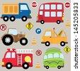 Cartoon  Vehicles, transport set - stock photo