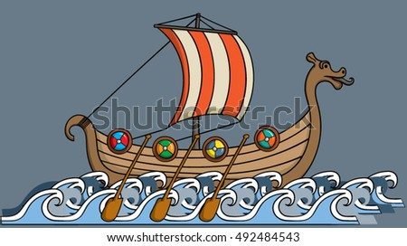 Cartoon viking ship sailing on the ocean