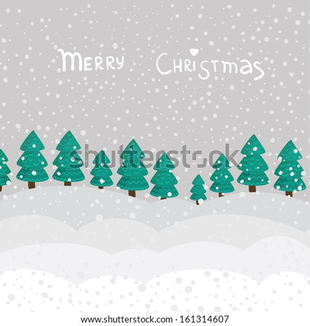 Cartoon winter forest in vector