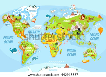 Funny cartoon world map traditional animals stock vector 360862022 cartoon world map with a lot of funny animalssea creaturesvarious landscapes and gumiabroncs Choice Image