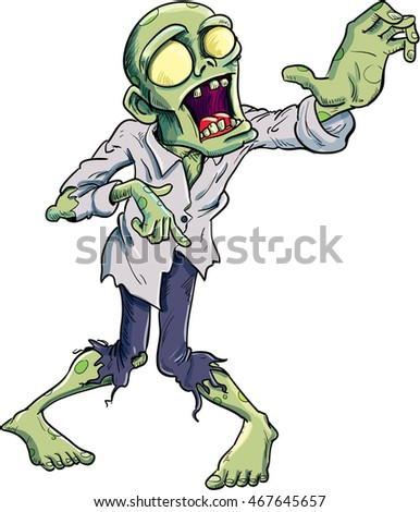 Cartoon zombie isolated on white. He is lurching