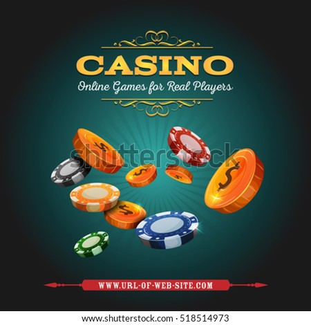 Casino And Gambling Background/ Illustration of a design casino and poker blue background, with golden coins and chips, for online gaming