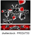Casino background, dices and card icon on black, vector illustration - stock vector