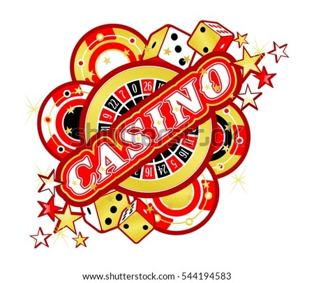 Casino Party Vector game of roulette and dice, emblem gambling house, gambling machines, the glowing sign