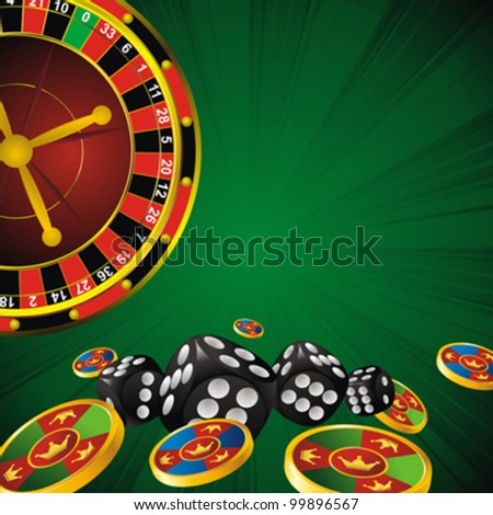 casino symbols roulette wheel, dice and chips on green strip background