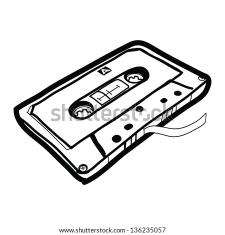 how to draw a cassette tape
