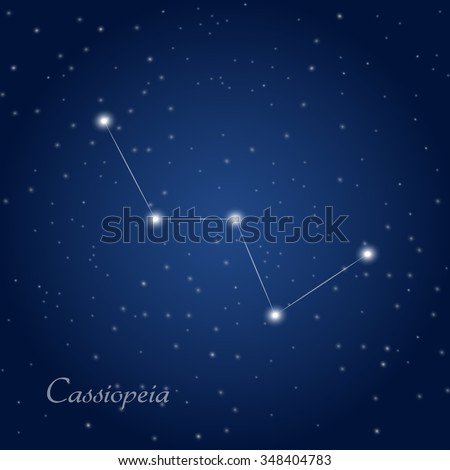 Cassiopeia constellation at starry night sky