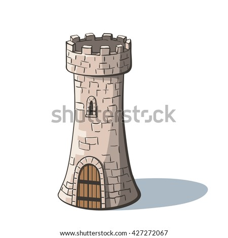 castle tower medieval ancient fortress with a wood gate isolated on white background tower
