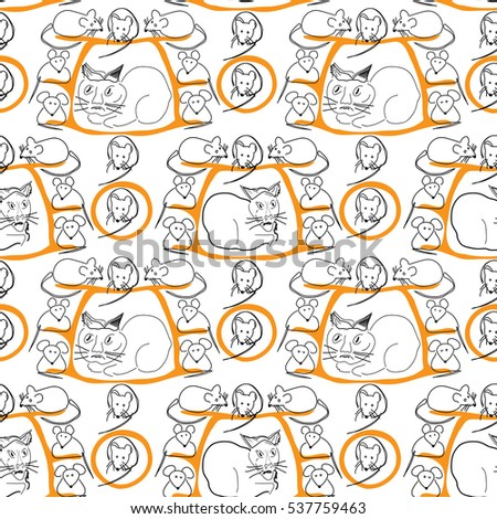 Cat and Mice Seamless Pattern on White