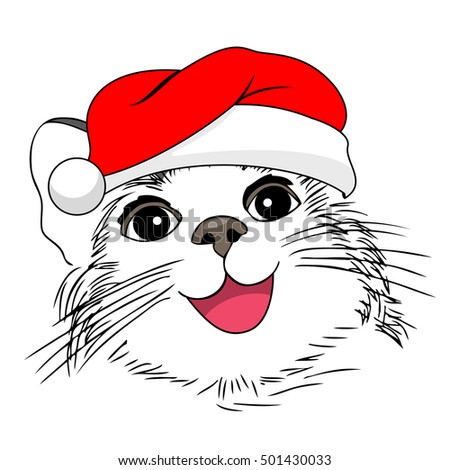 Sketch Husky Dog Red Santas Hat Stock Vector 739425559 ...