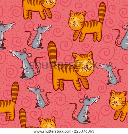 Cat-mouse vector pattern.