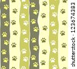 Cat or dog paw striped seamless pattern, vector - stock photo