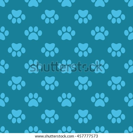 Cat Paw Print. Vector seamless pattern. Endless texture can be used for wallpaper,printing on fabric, paper, scrapbooking.