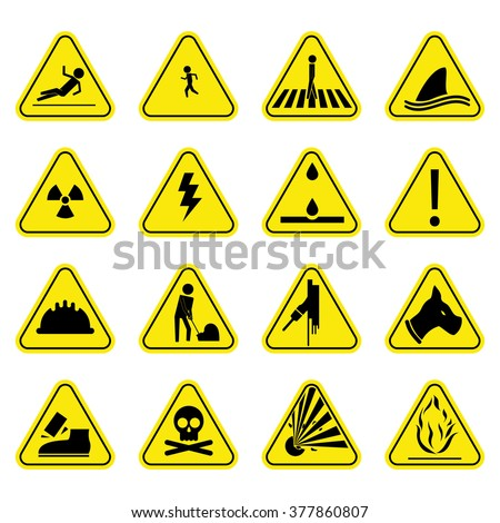 Caution set yellow icon symbol sign vector pictogram
