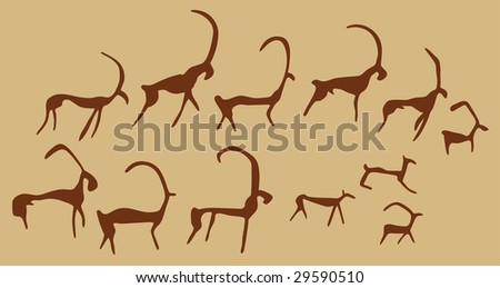 Cave Drawings Of Ancient Animals, vector silhouettes