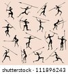Cave rock painting tribal people silhouettes vector set - stock photo