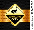 Cctv symbol on a metallic perforated background,  vector illustration - stock photo