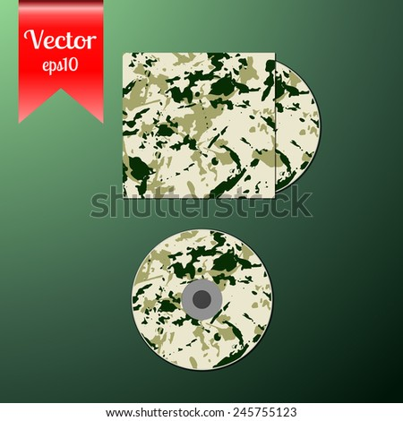 Cd cover design template with copy space, vector illustration with camouflage desert pattern.