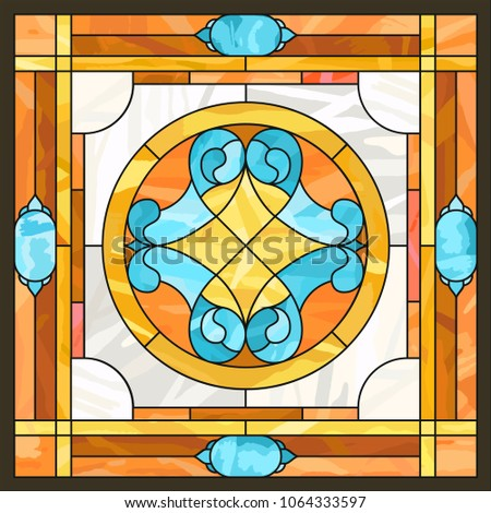 Ceiling Panels Stained Glass Window. Abstract Flower, Swirls And Leaves In  Square Frame,