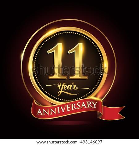 11th Anniversary Celebration Design Gift Box Stock Vector ...