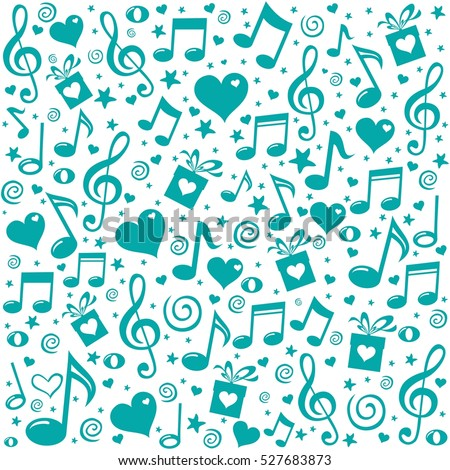 Celebration background. Seamless pattern wallpaper of musical notes, gift box, stars. Vector Illustration