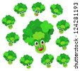 celery cartoon with many expressions isolated on white background - stock vector