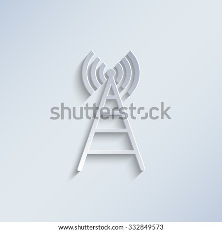 Cell Phone Tower - paper vector icon