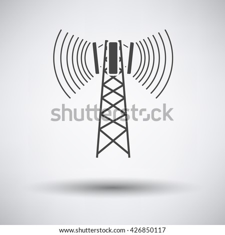 Cellular broadcasting antenna icon on gray background with round shadow. Vector illustration.