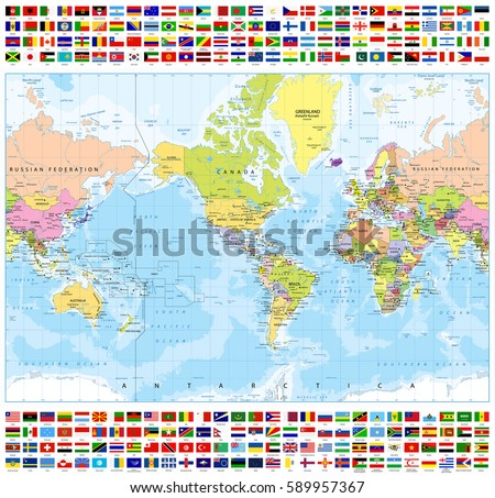 Colored World Map All World Flags Stock Vector - All the world map