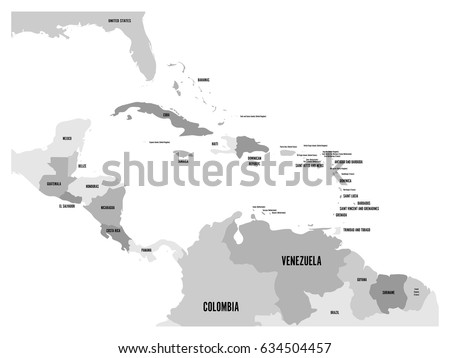 Central america carribean states political map stock vector central america and carribean states political map in four shades of grey with black country names gumiabroncs