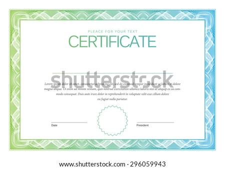 Certificate. Award background. Gift voucher. Template diplomas, currency. Vector