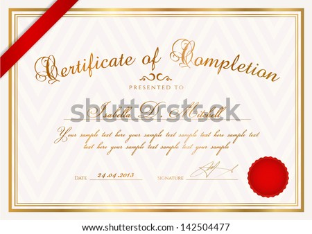 Certificate Completion Template Wax Seal Border Vector – Template Certificate of Completion