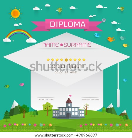 Easter card landscape church on hill stock vector for Diploma of landscape design