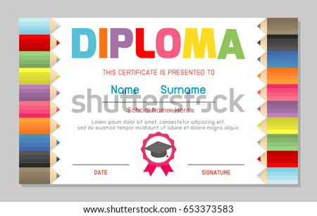 Certificate kids diploma kindergarten template layout stock vector certificate kids diploma kindergarten template layout space background frame design vector diploma template for yadclub Gallery