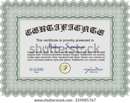 Certificate. Money style.With guilloche pattern and background. Elegant design.