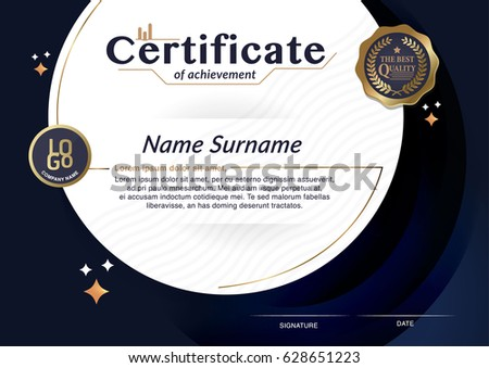 Certificate Achievement Frame Design Template Stock Vector